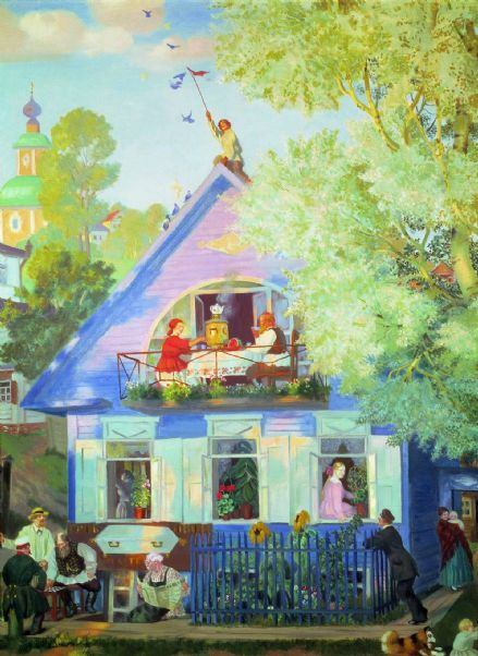 Kustodiev, Boris: Blue House. Fine Art Print/Poster. Sizes: A4/A3/A2/A1 (002194)